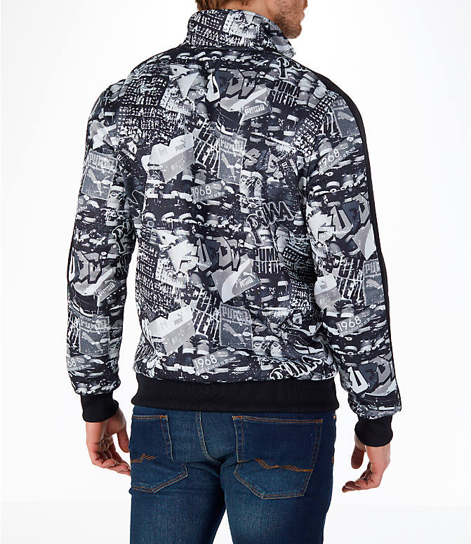 Back Right view of Men's Puma Graffitti T7 Track Jacket in Black/White
