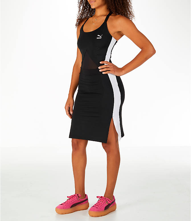 Front Three Quarter view of Women's Puma Archive T7 Dress in Black/White