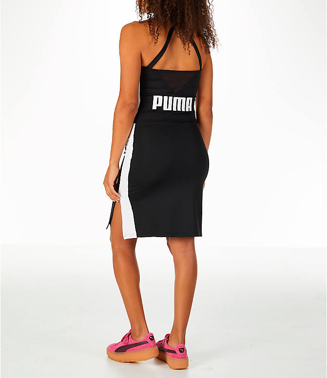 Back Left view of Women's Puma Archive T7 Dress in Black/White