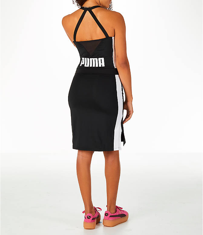 Back Right view of Women's Puma Archive T7 Dress in Black/White