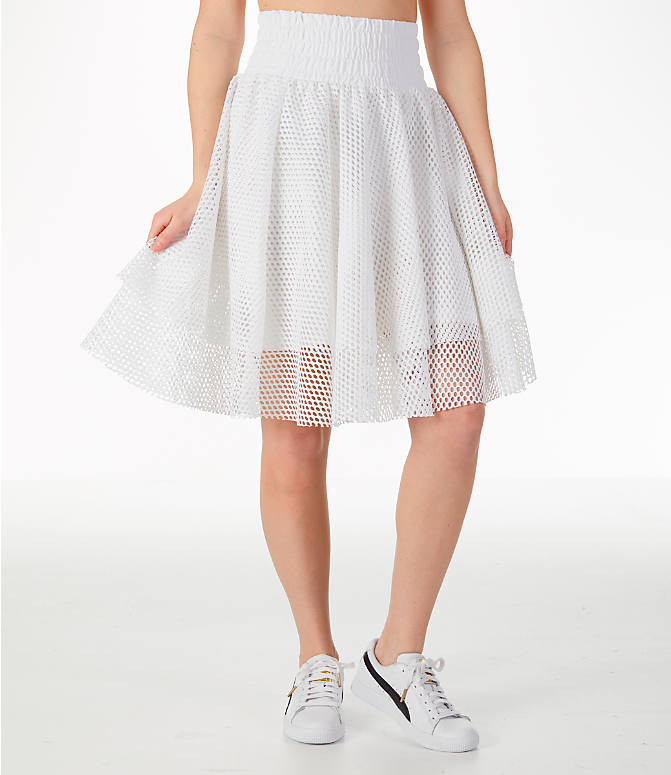 Front view of Women's Puma En Pointe Skirt in White/Mesh