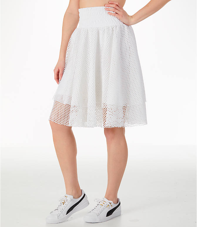 Front Three Quarter view of Women's Puma En Pointe Skirt in White/Mesh