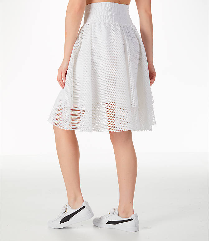 Back Left view of Women's Puma En Pointe Skirt in White/Mesh