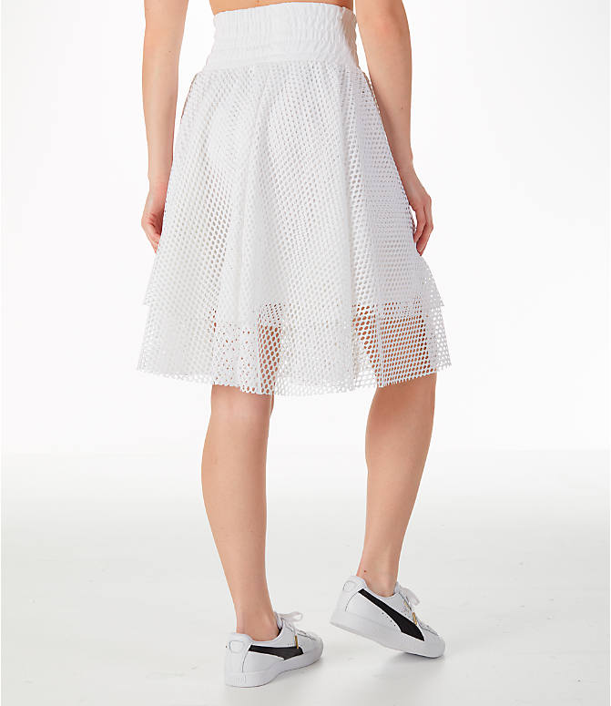 Back Right view of Women's Puma En Pointe Skirt in White/Mesh