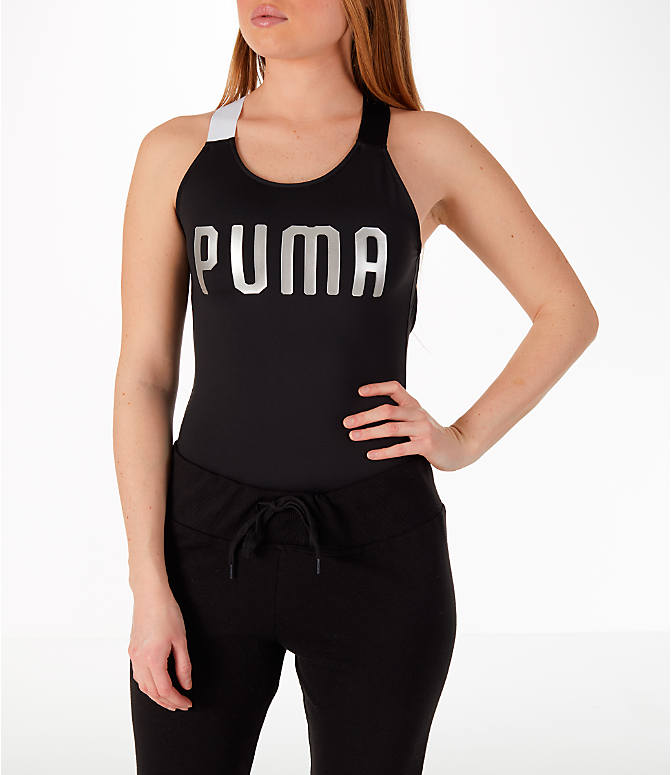 Front view of Women's Puma En Pointe Bodysuit in Black/White