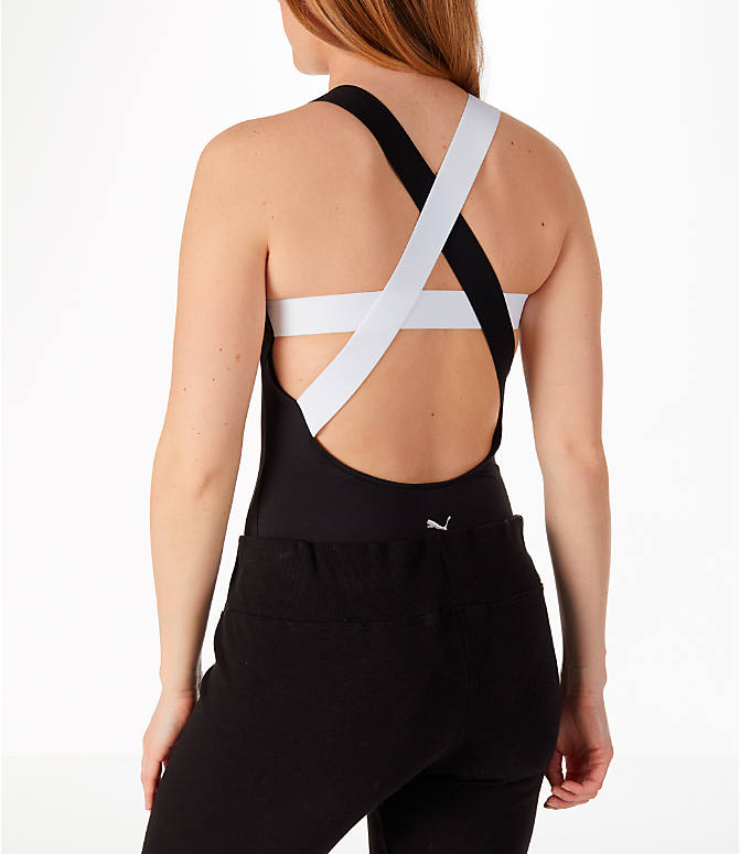 Back Left view of Women's Puma En Pointe Bodysuit in Black/White