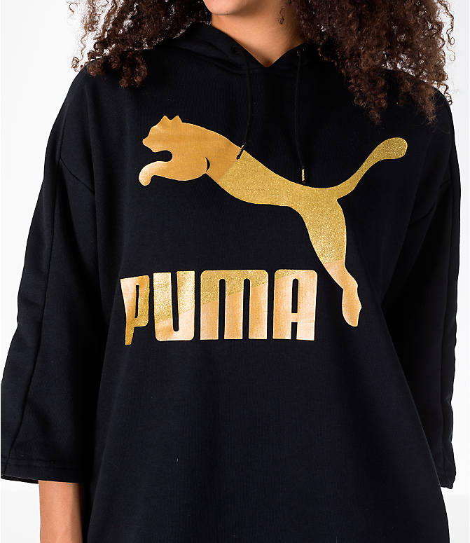 Detail 1 view of Women's Puma Glam Oversized Hooded Dress in Black/Gold