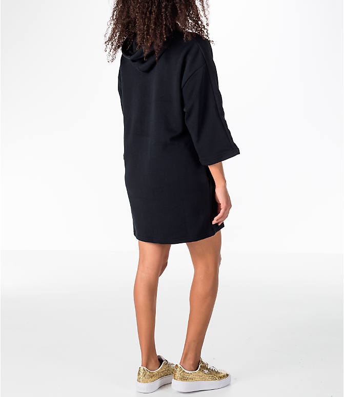 Back Right view of Women's Puma Glam Oversized Hooded Dress in Black/Gold