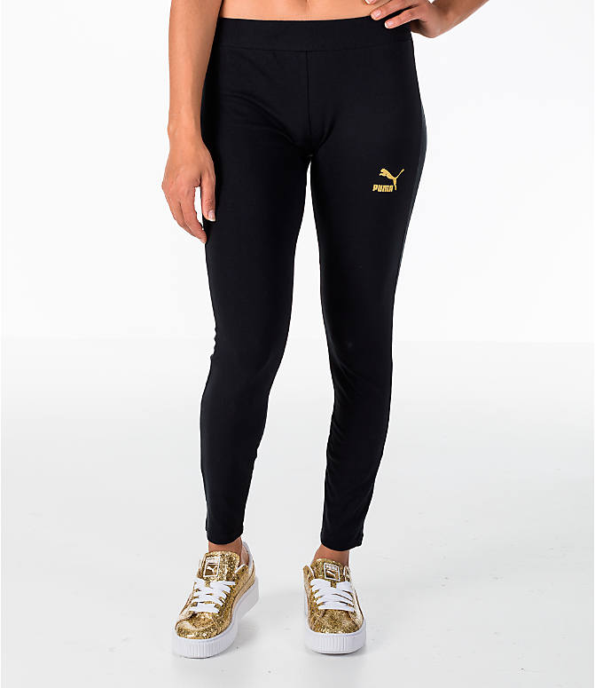 Front view of Women's Puma Glam Leggings in Black/Gold