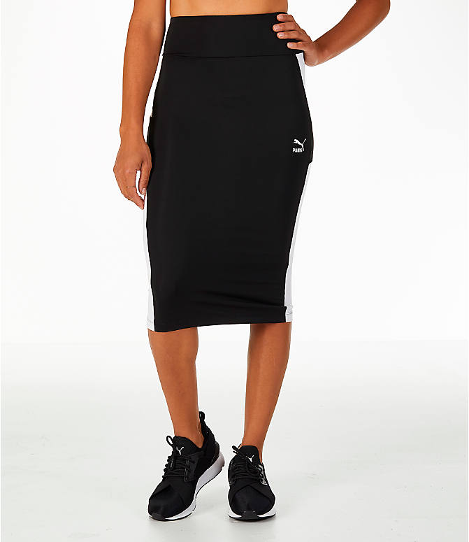 Front view of Women's Puma Pencil Skirt in Black/White