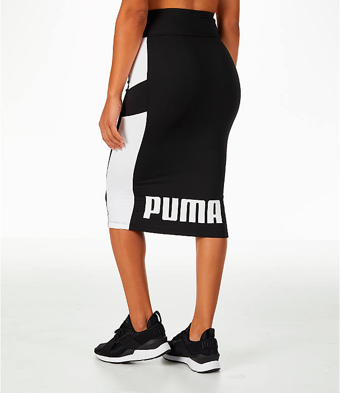 Back Left view of Women's Puma Pencil Skirt in Black/White