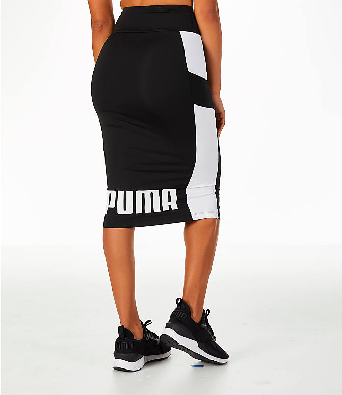 Back Right view of Women's Puma Pencil Skirt in Black/White