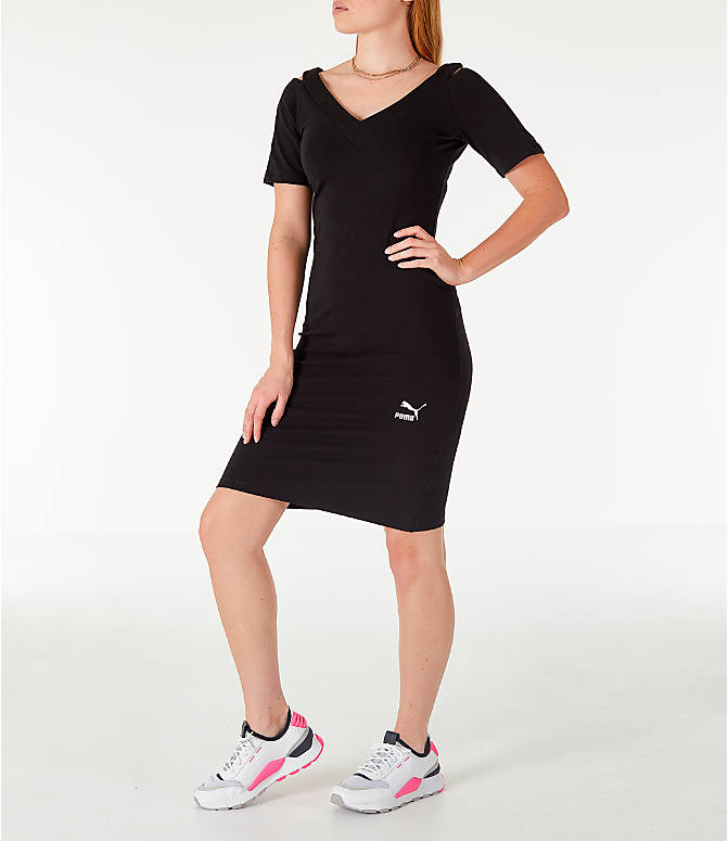 Front view of Women's Puma Classics T7 Dress in Black/White