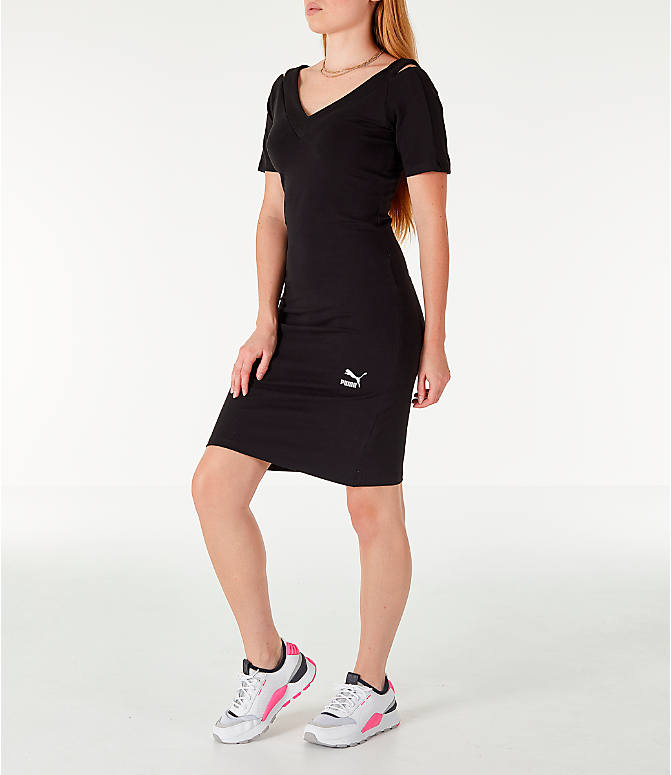 Front Three Quarter view of Women's Puma Classics T7 Dress in Black/White