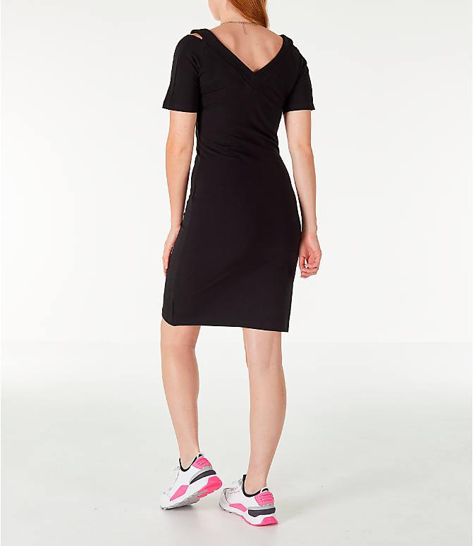 Back Left view of Women's Puma Classics T7 Dress in Black/White