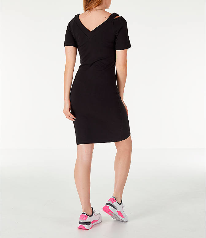Back Right view of Women's Puma Classics T7 Dress in Black/White