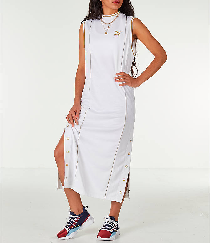 Front view of Women's Puma Retro Dress in White/Gold