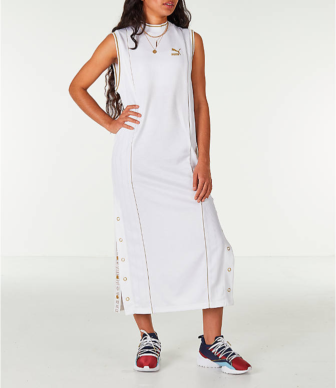 Front Three Quarter view of Women's Puma Retro Dress in White/Gold