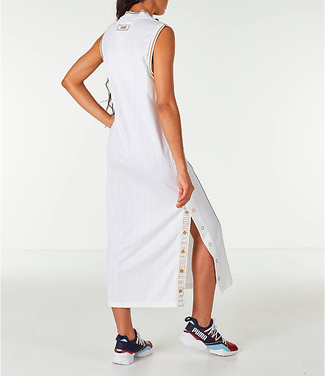 Back Right view of Women's Puma Retro Dress in White/Gold