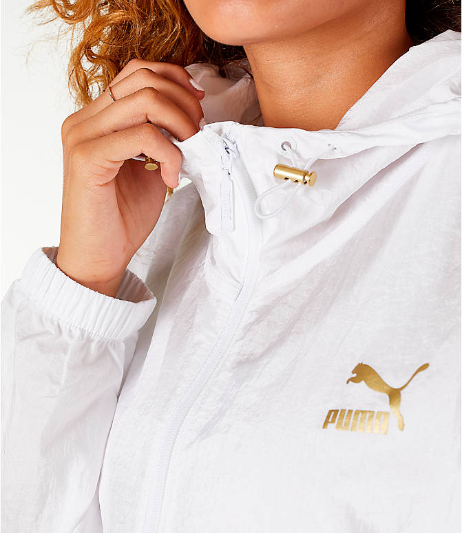 Detail 1 view of Women's Puma Retro Windrunner Zip Up Hooded Wind Jacket in White/Gold