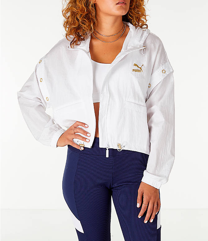 Front view of Women's Puma Retro Windrunner Zip Up Hooded Wind Jacket in White/Gold