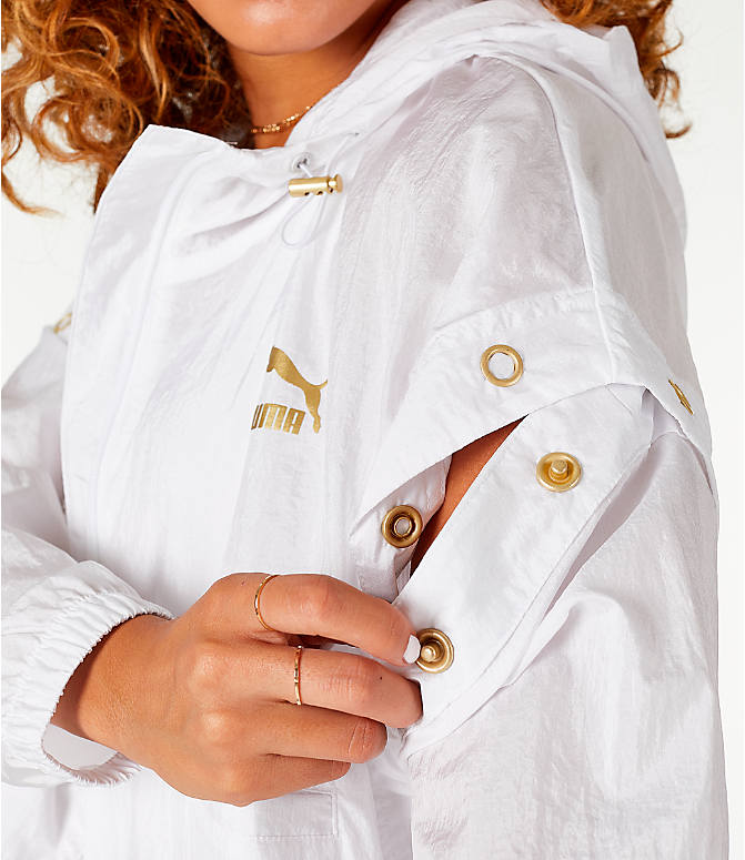Back Right view of Women's Puma Retro Windrunner Zip Up Hooded Wind Jacket in White/Gold