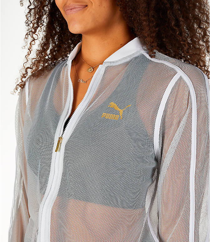 Detail 1 view of Women's Puma Exposed Mesh Fashion T7 Track Jacket in White/Mesh