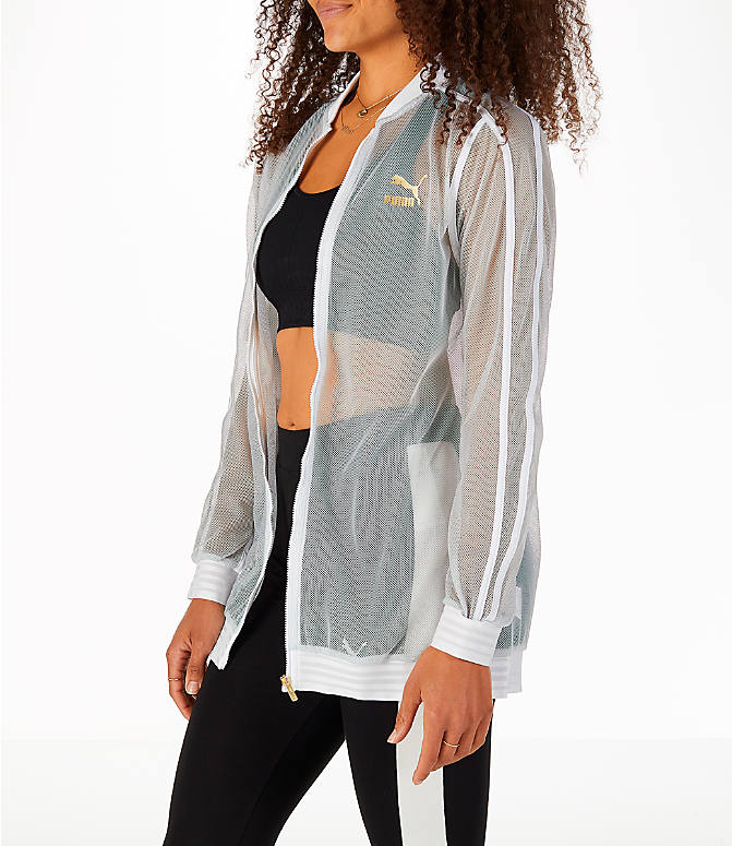 Front Three Quarter view of Women's Puma Exposed Mesh Fashion T7 Track Jacket in White/Mesh
