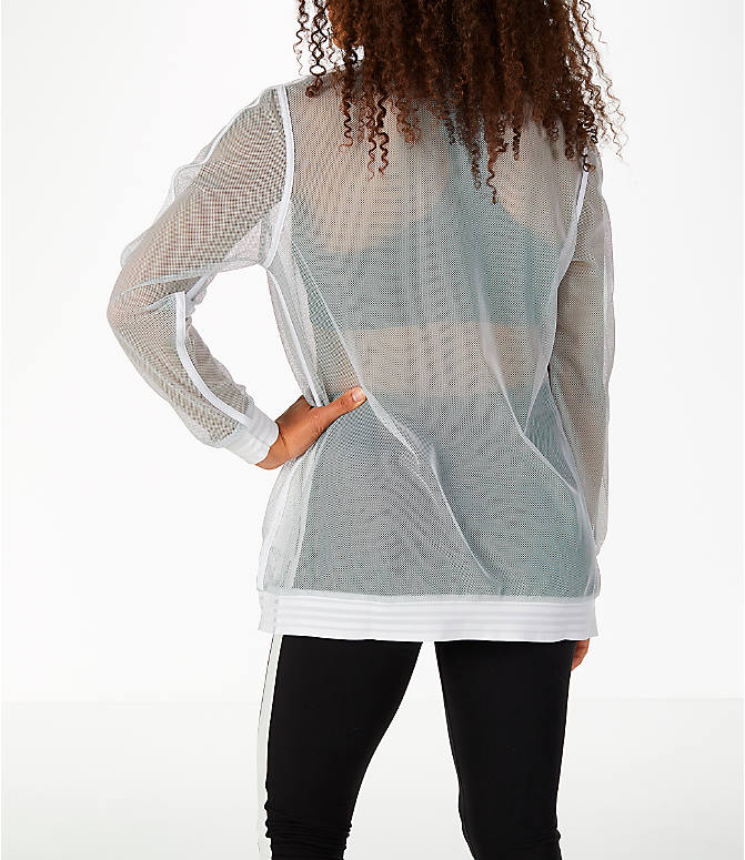 Back Left view of Women's Puma Exposed Mesh Fashion T7 Track Jacket in White/Mesh