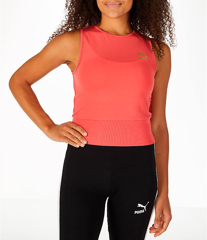 Front view of Women's Puma Exposed Crop Tank Top in Spiced Coral