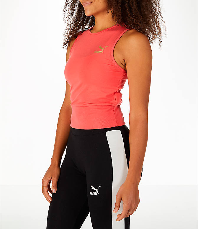 Front Three Quarter view of Women's Puma Exposed Crop Tank Top in Spiced Coral