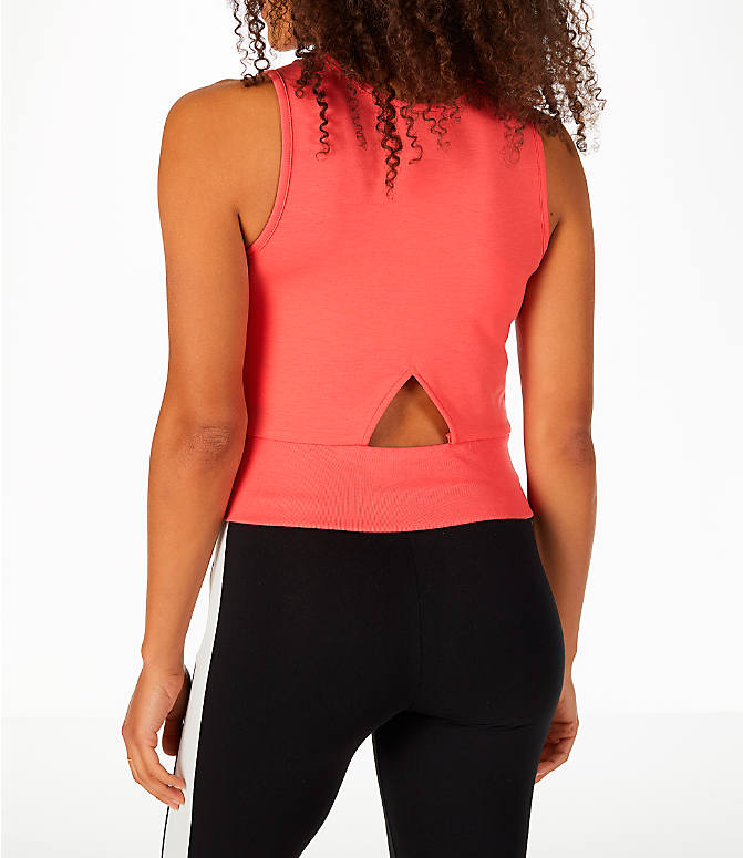 Back Left view of Women's Puma Exposed Crop Tank Top in Spiced Coral