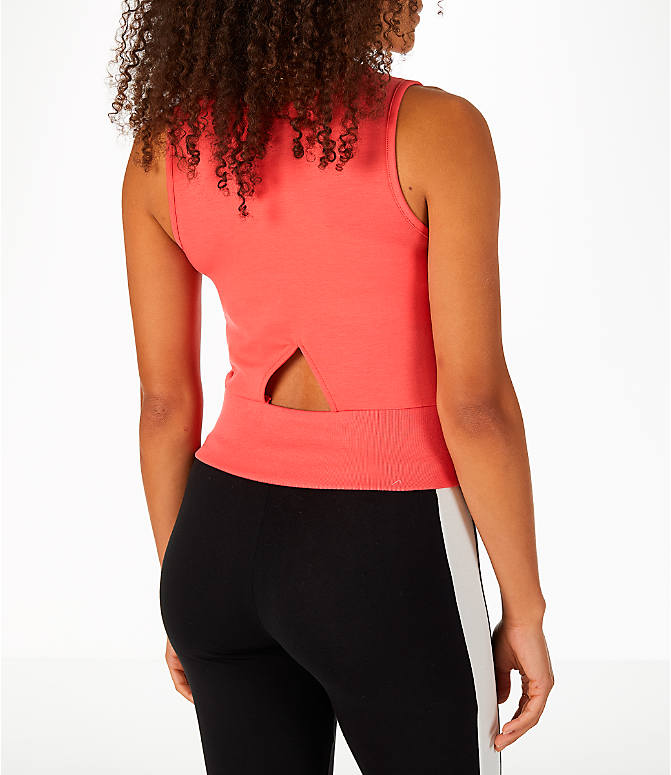 Back Right view of Women's Puma Exposed Crop Tank Top in Spiced Coral