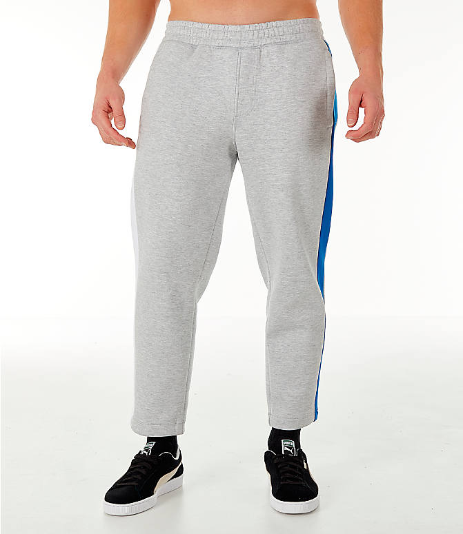Front Three Quarter view of Men's PUMA x PEPSI Track Pants in Light Grey Heather