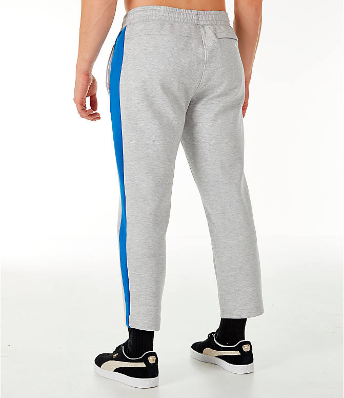 Back Left view of Men's PUMA x PEPSI Track Pants in Light Grey Heather