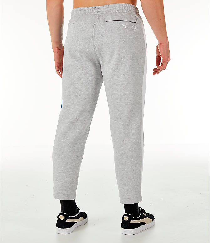 Back Right view of Men's PUMA x PEPSI Track Pants in Light Grey Heather
