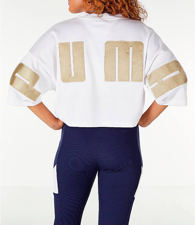 Front view of Women's Puma Retro Crop Shirt in White/Gold
