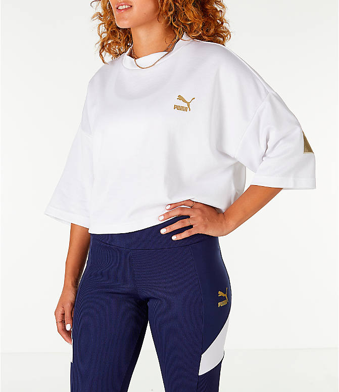 Front Three Quarter view of Women's Puma Retro Crop Shirt in White/Gold