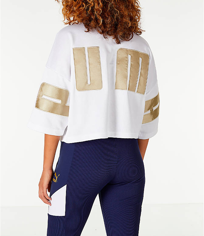 Back Left view of Women's Puma Retro Crop Shirt in White/Gold