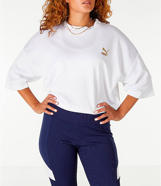 Back Right view of Women's Puma Retro Crop Shirt in White/Gold