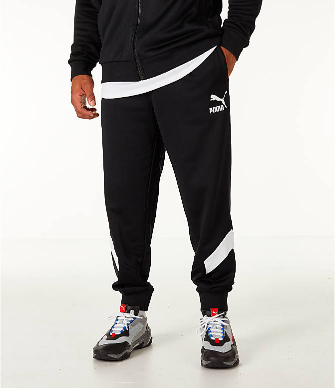 Front view of Men's Puma MCS Track Jogger Pants in Puma Black
