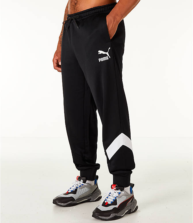Front Three Quarter view of Men's Puma MCS Track Jogger Pants in Puma Black