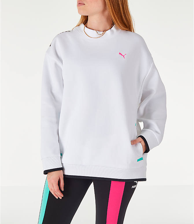 Front view of Women's Puma Chase Crew Sweatshirt in White/Neons