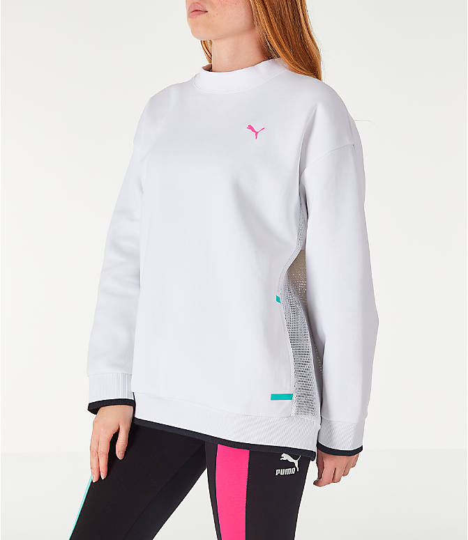 Front Three Quarter view of Women's Puma Chase Crew Sweatshirt in White/Neons
