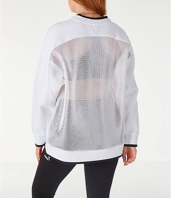 Back Left view of Women's Puma Chase Crew Sweatshirt in White/Neons