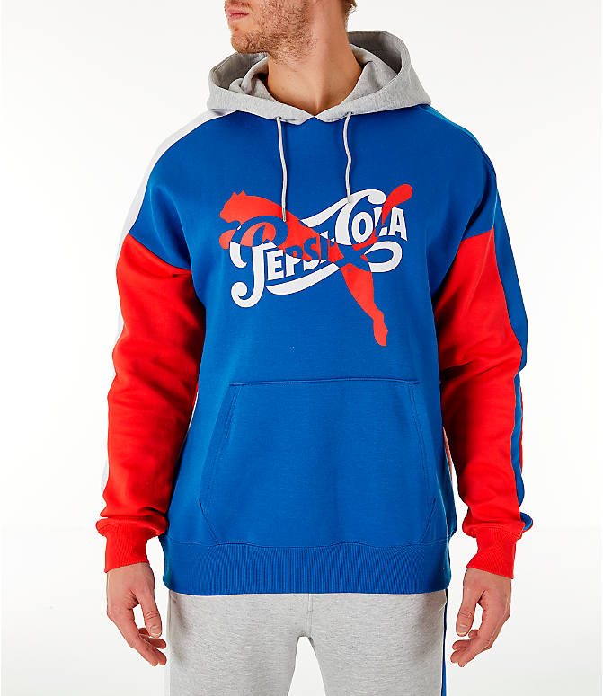 Front view of Men's PUMA x PEPSI Track Hoodie in Light Grey Heather