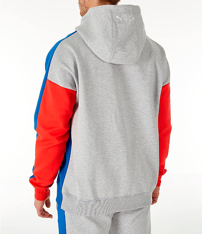 Back Left view of Men's PUMA x PEPSI Track Hoodie in Light Grey Heather