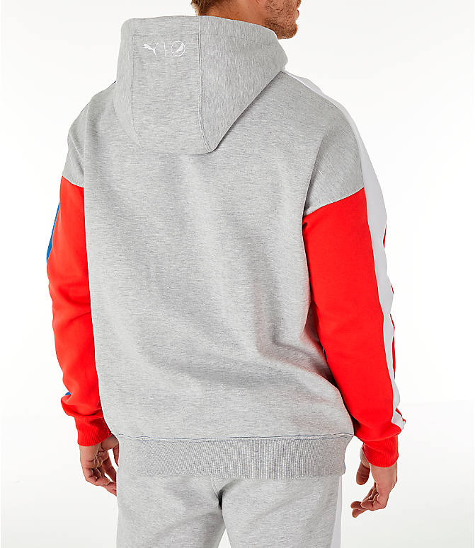 Back Right view of Men's PUMA x PEPSI Track Hoodie in Light Grey Heather
