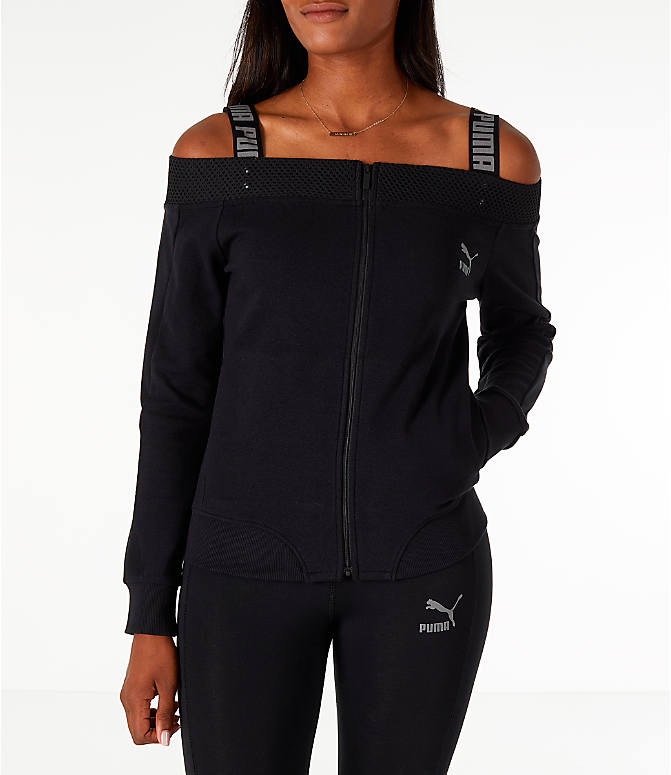 Front view of Women's Puma Off The Shoulder T7 Jacket in Black