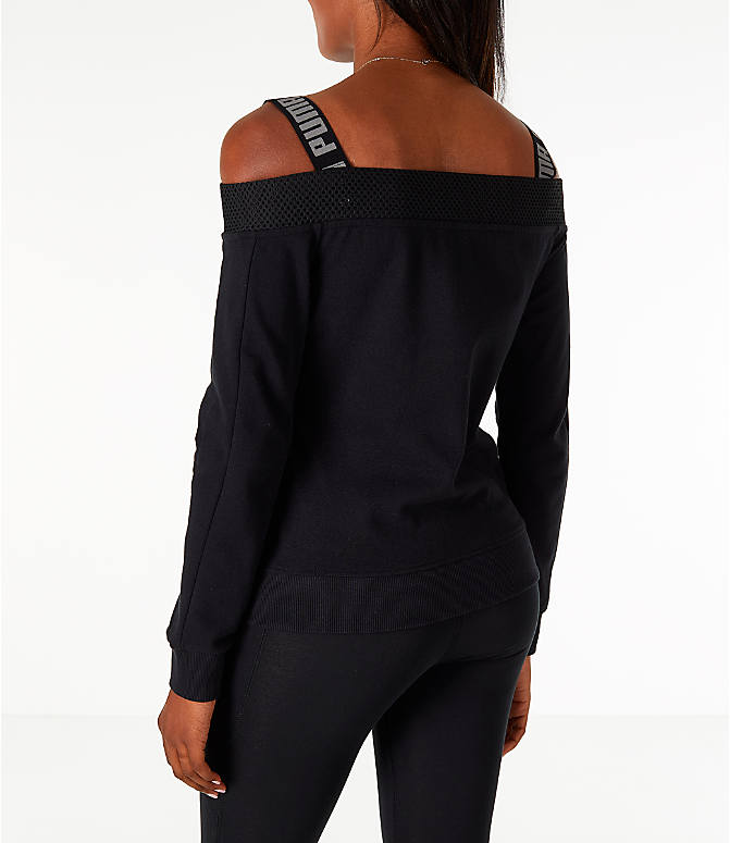 Back Left view of Women's Puma Off The Shoulder T7 Jacket in Black